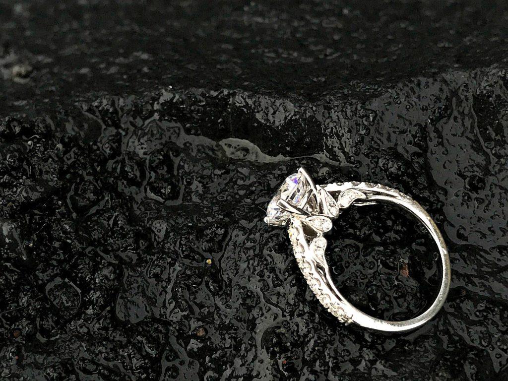 custom white gold and diamond engagement ring St. Pete Beach FL